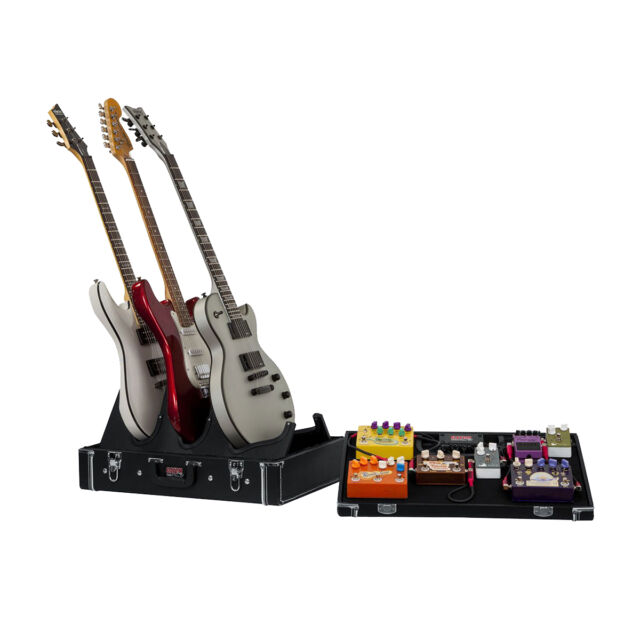 gator gig box jr pedal board and 3x guitar stand wooden case w power supply for sale online ebay. Black Bedroom Furniture Sets. Home Design Ideas