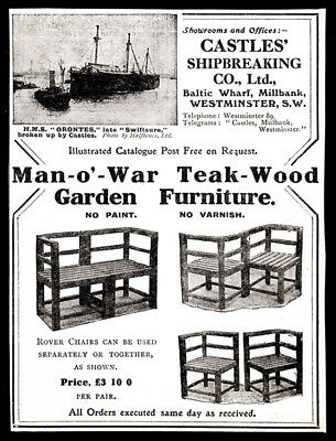 Advertising-print Creative 1910 Man-o'-war Teak-wood Garden Furniture Print Ad Castles' Shipbreaking Co. Merchandise & Memorabilia