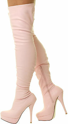 Sexy Kinky Fetish Patent Stilletos Heels Thigh High Over The Knee Stretch Boots