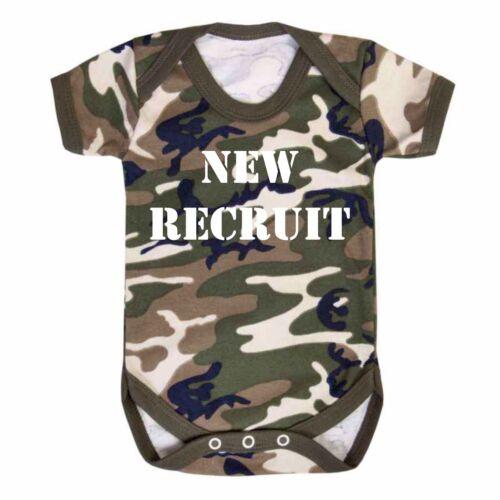 New Recruit Baby Unit Camo Baby Vest Babygrow RAF Army Camouflage Fish