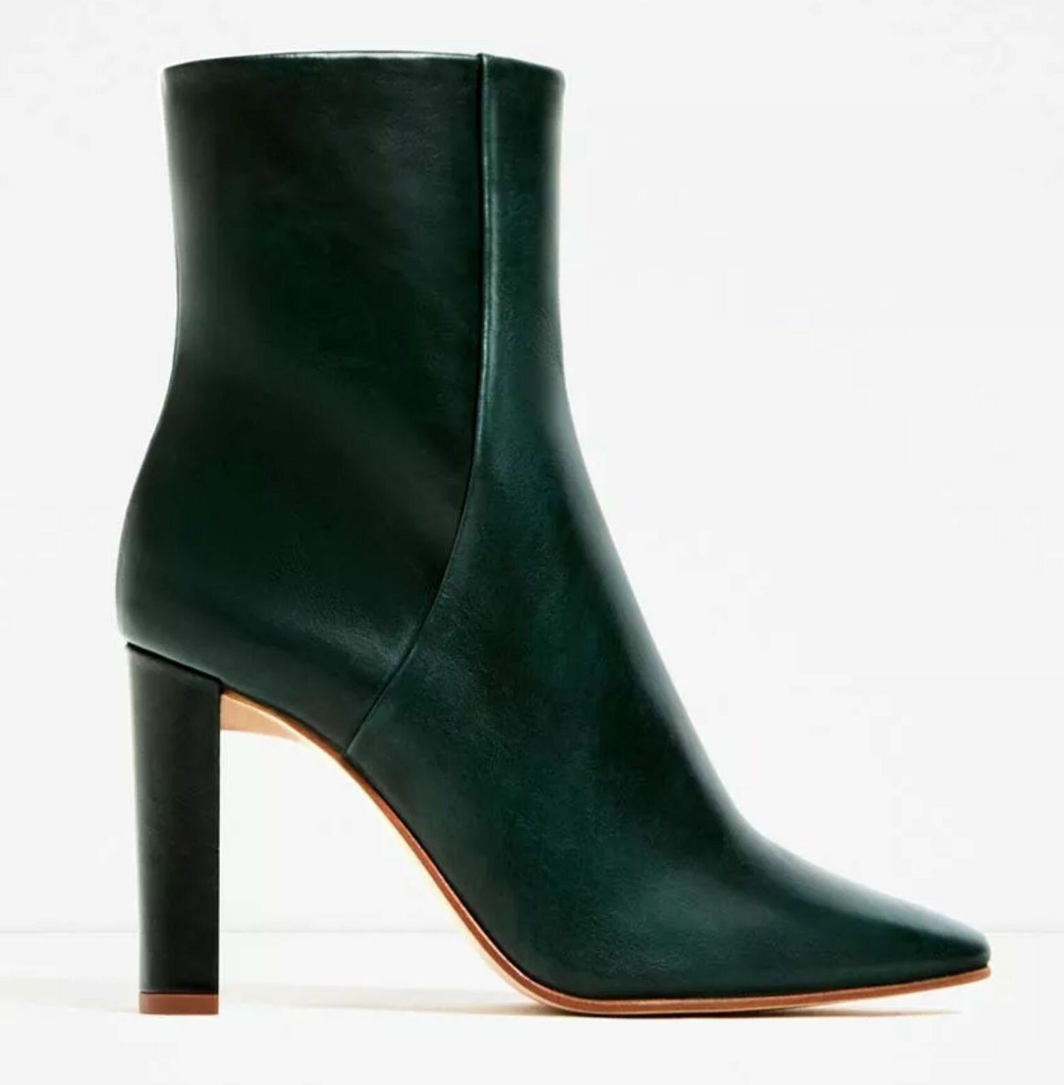 NWT ZARA US GREEN LEATHER HIGH HEEL ANKLE BOOTS US ZARA 5 EU 35 699713