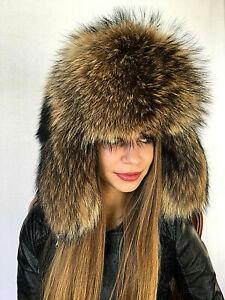 b7c8db9a Image is loading Raccoon-Fur-Hat-Adjustable-Saga-Furs-Full-Ushanka-