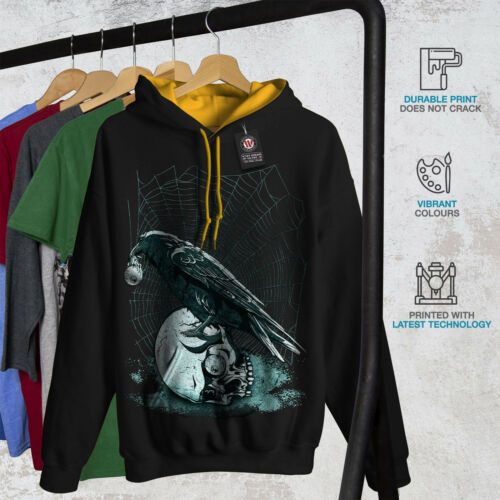 Skull Men Hoodie Black Raven oro New cappuccio Contrast Skeleton Rock FAqww1xU