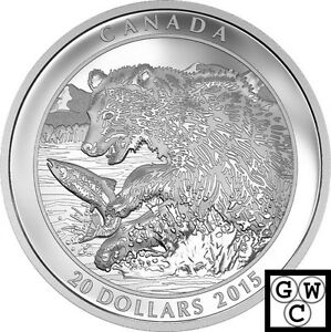 2015-039-Grizzly-Bear-The-Catch-039-Proof-20-Silver-Coin-1oz-9999-Fine-17409