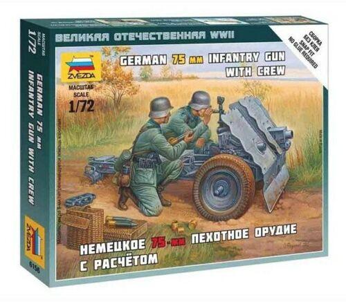 Zvezda 6156 German 75mm Infantry Gun with Crew   1:72 New