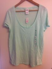 PINK VICTORIA'S SECRET MINT LARGE T-SHIRT BNWT WITH VICTORIA'S SECRET SHOP BAG