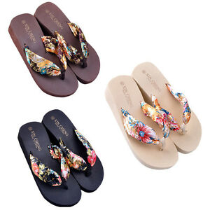 Women Summer Bohemia Floral Beach Sandals Wedge Platform Thongs Slippers Flip Flops