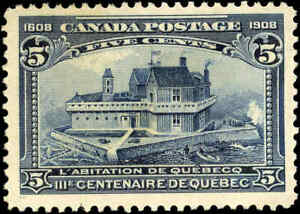 1908-Mint-Canada-F-VF-Scott-99-5c-Quebec-Tercentenary-Stamp-No-Gum