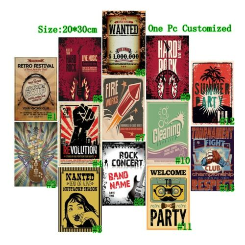 Vintage Metal Tin Signs Welcome Retro Party Hanging Art Wall Decor Poster