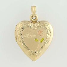 """Mother's Heart Locket - 1/20 14k Gold Filled Rose Design """"Mom"""""""