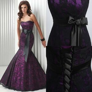 Vintage Purple/Black Lace Mermaid Evening Dresses Prom Gown Wedding Party Stock