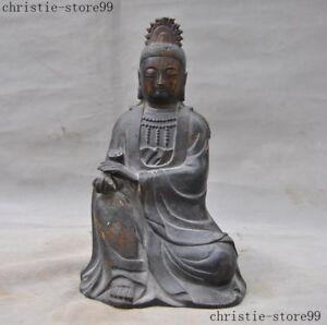 China antique Pure copper kettle Guanyin Buddha statue 01