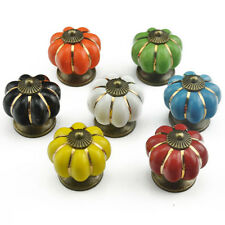 8PCS Vintage Pumpkin Style Ceramic Pull Handles Cabinet Door Drawer Knobs