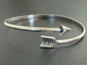 925-Sterling-Silver-Arrow-Bangle-Bracelet-Open-End-Solid-Cupid-Love-Women-Girl