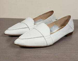 2884e92243b0 Image is loading Vince-Camuto-Maita-White-Leather-Pointy-Toe-Flat-