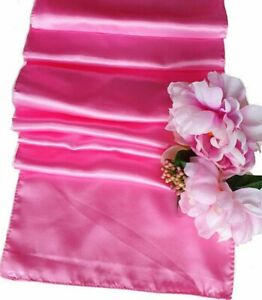 10-x-Hot-Pink-Satin-Table-Runners-Chair-Sashes-Wedding-Party-Event-Decoration