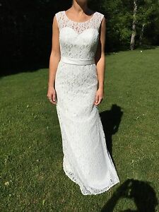 Lace Sheath High Neck Wedding Gown With Satin Sash Pearl White Never Used Ebay
