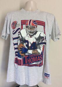 f2592c155 Vtg 1991 Autographed Thurman Thomas Buffalo Bills T-Shirt Gray L 90s ...