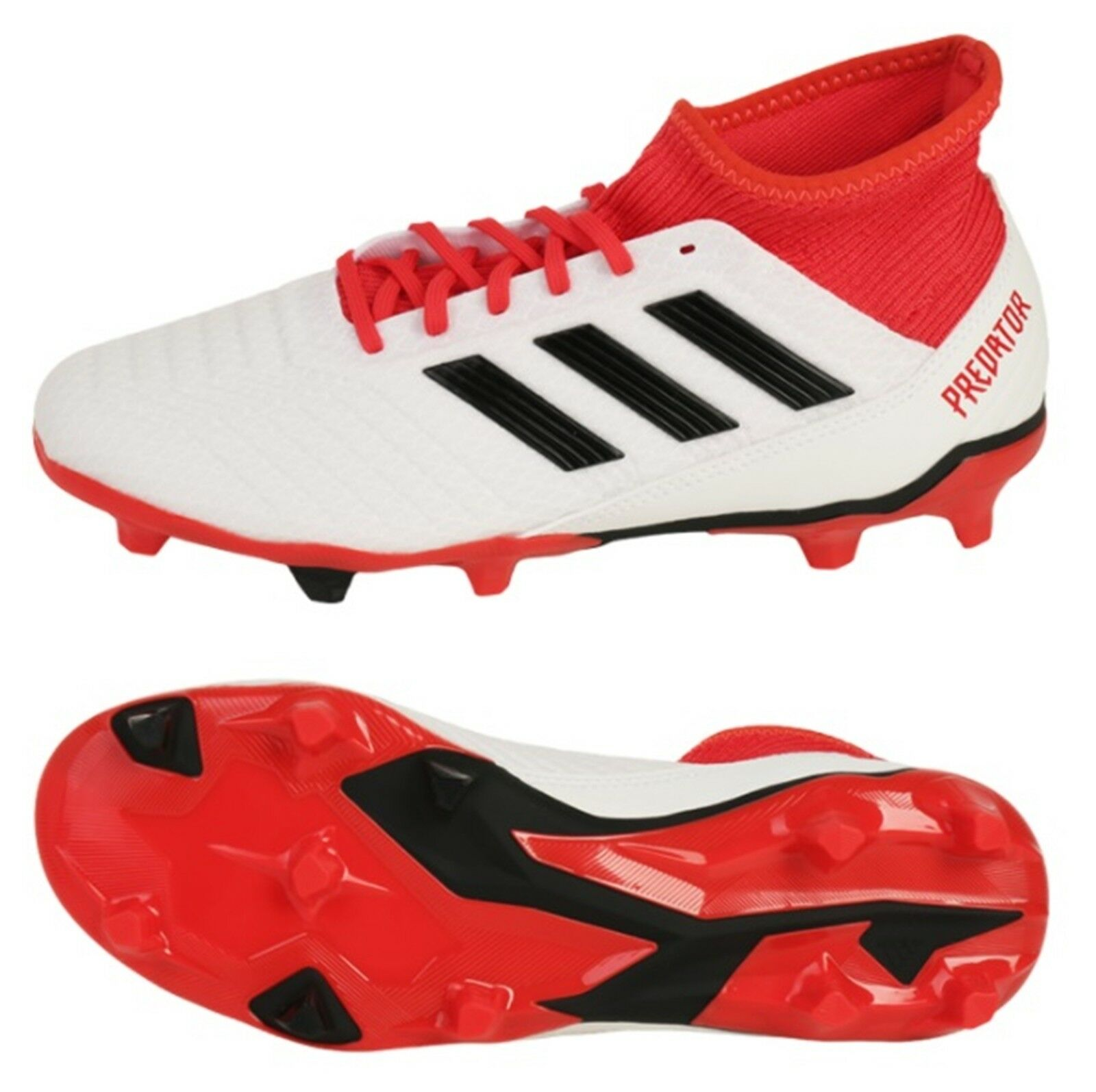 Adidas Men Predator 18.3 FG Cleats Soccer White Red Football shoes Spike CM7667