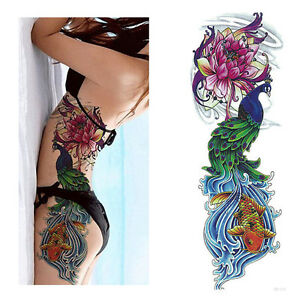Temporary-Tattoo-Sticker-Full-Flower-Arm-Fish-Peacock-Lotus-Body-Art