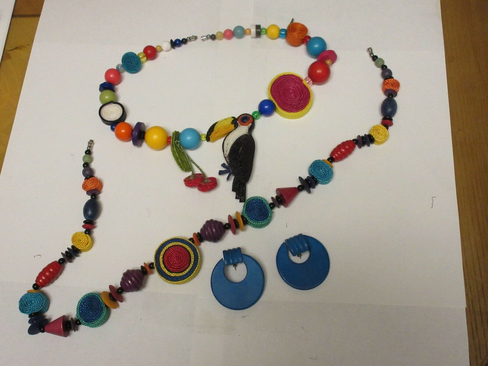 Costume Jewelry ,Multi Color Necklace(Parrot) ,Earrings