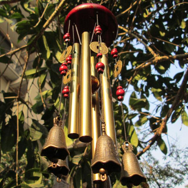 4 Copper Tubes 5 Bells Metal Wind Chimes Outdoor Yard Garden Hanging Decor 63cm