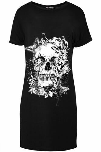 Womens Halloween Skull Teeth Pumpkin Ladies Spooky Lagenlook Tunic T-Shirt Dress