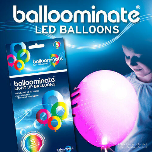 5 Pack All Occasions PINK LED Balloons Pink LED light up balloons
