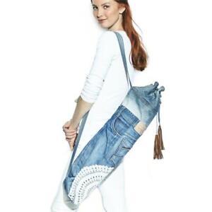 Distressed-Vtg-Denim-Levis-Vtg-Jeans-Yoga-Mat-Carry-Bag-Tassels-NWT-Boho-OOAK