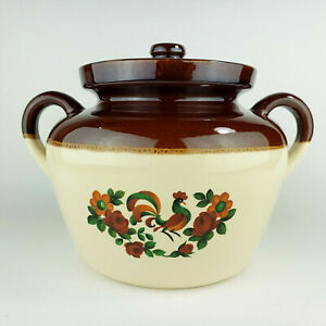 McCoy 342 Rooster 2 Toned Bean Pot with Lid Crock Cookie Jar Oven Proof