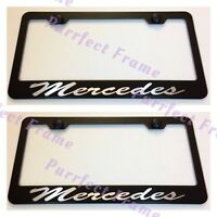 2x mercedes Stainless Steel Black License Plate Frame Rust Free W/ Bolt Caps