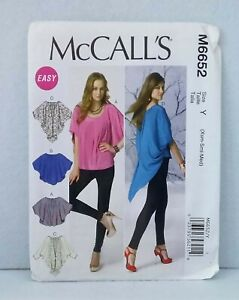 McCall-039-s-6652-loose-fit-flowing-top-asymmetric-hemline-easy-sew-size-XS-M-4-14