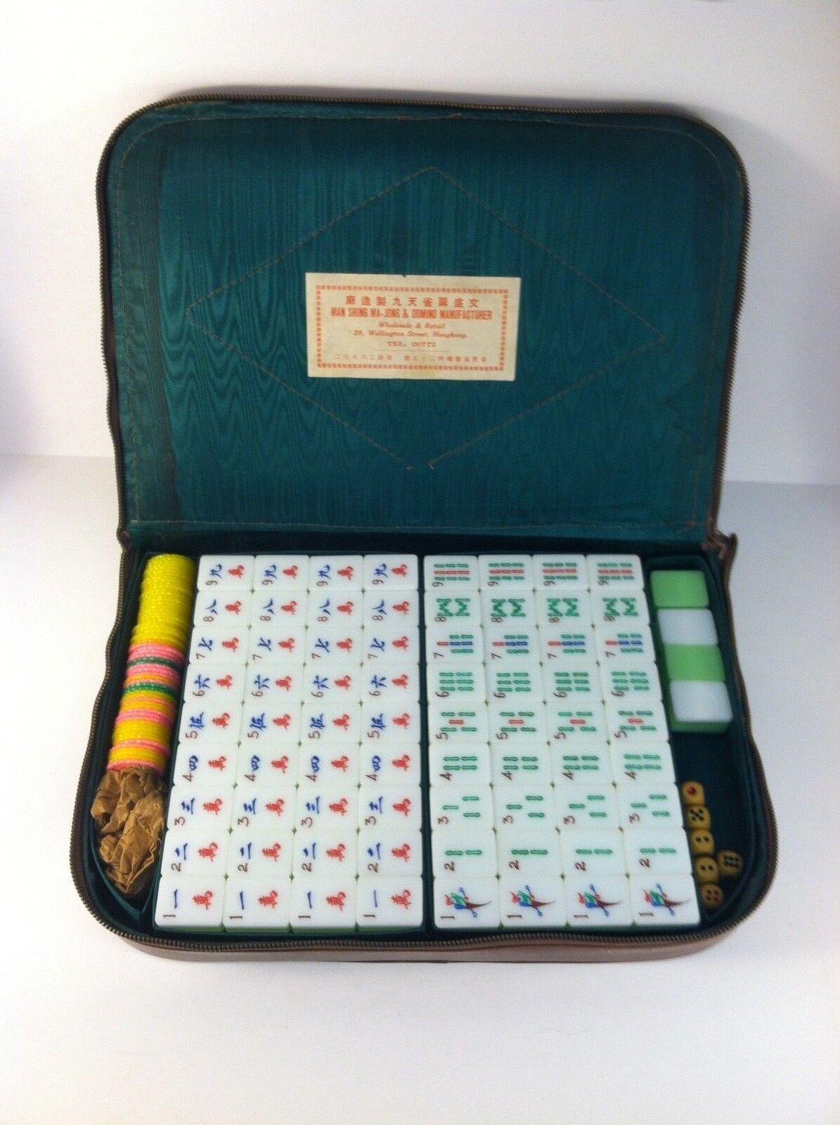 VINTAGE HOMME Shing Mahjong ma Jong Set Hong Kong Kit Étui en cuir