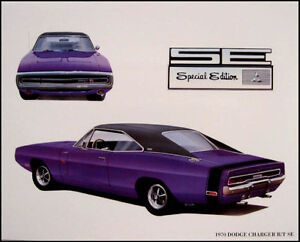 1970-Dodge-Charger-R-T-SE-Mopar-Original-Art-Print-Lithograph-70