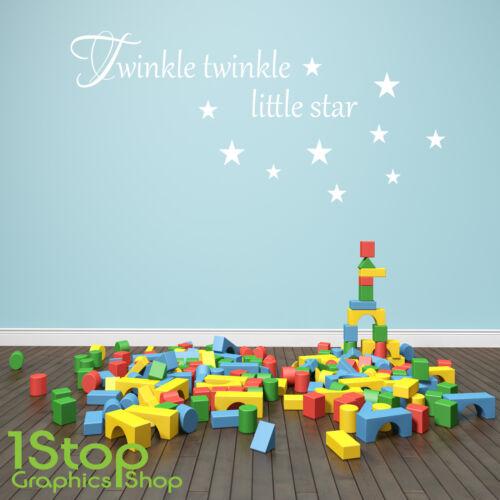 TWINKLE TWINKLE WALL STICKER QUOTE KIDS BOYS GIRLS HOME WALL ART DECAL X132