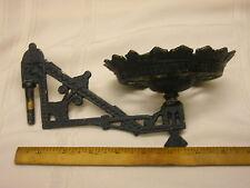 "Vintage Cast Iron Oil Lamp Holder Wall Sconce Ornate Black 9"" Victorian"
