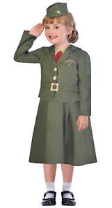 Girls WW1 WW2 Soldier Uniform Historical Fancy Dress Costume Outfit 5-12 yrs