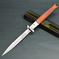 Tac Force 13 1/8 Open Large Stiletto Assisted Open Red Wood Handle Knife