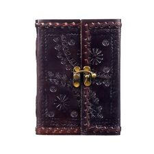 Embossed Stitched Leather Journal + Clasp, 125 Unlined Recycled Paper Notebook