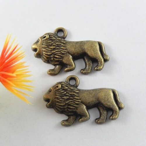 30pcs Antiqued Bronze Alloy Lion Shaped Pendant Charms Jewelry Accessory Finding