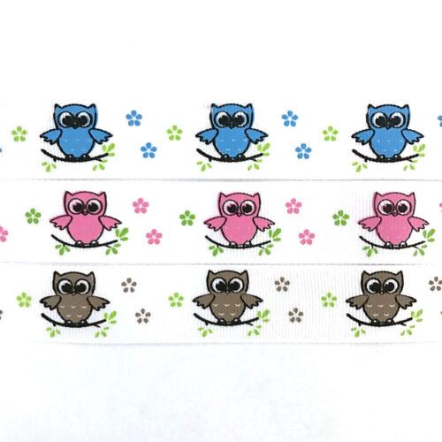 100/% Polyester Cute Owl Character Print Grosgrain Ribbon 25YDS