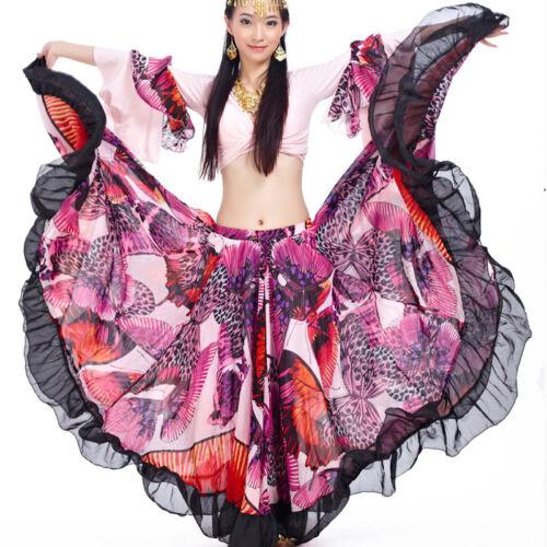 C829 Bauchtanz Kostüm 2 Teilige Oberteil Top und Flamenco Rock Tribal Tellerrock