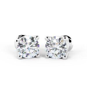 Venta-1-20-CT-Diamante-Redondo-4-Claw-Pendientes-con-Pasador-18k-Oro-Blanco-Reino-Unido-caracteriza