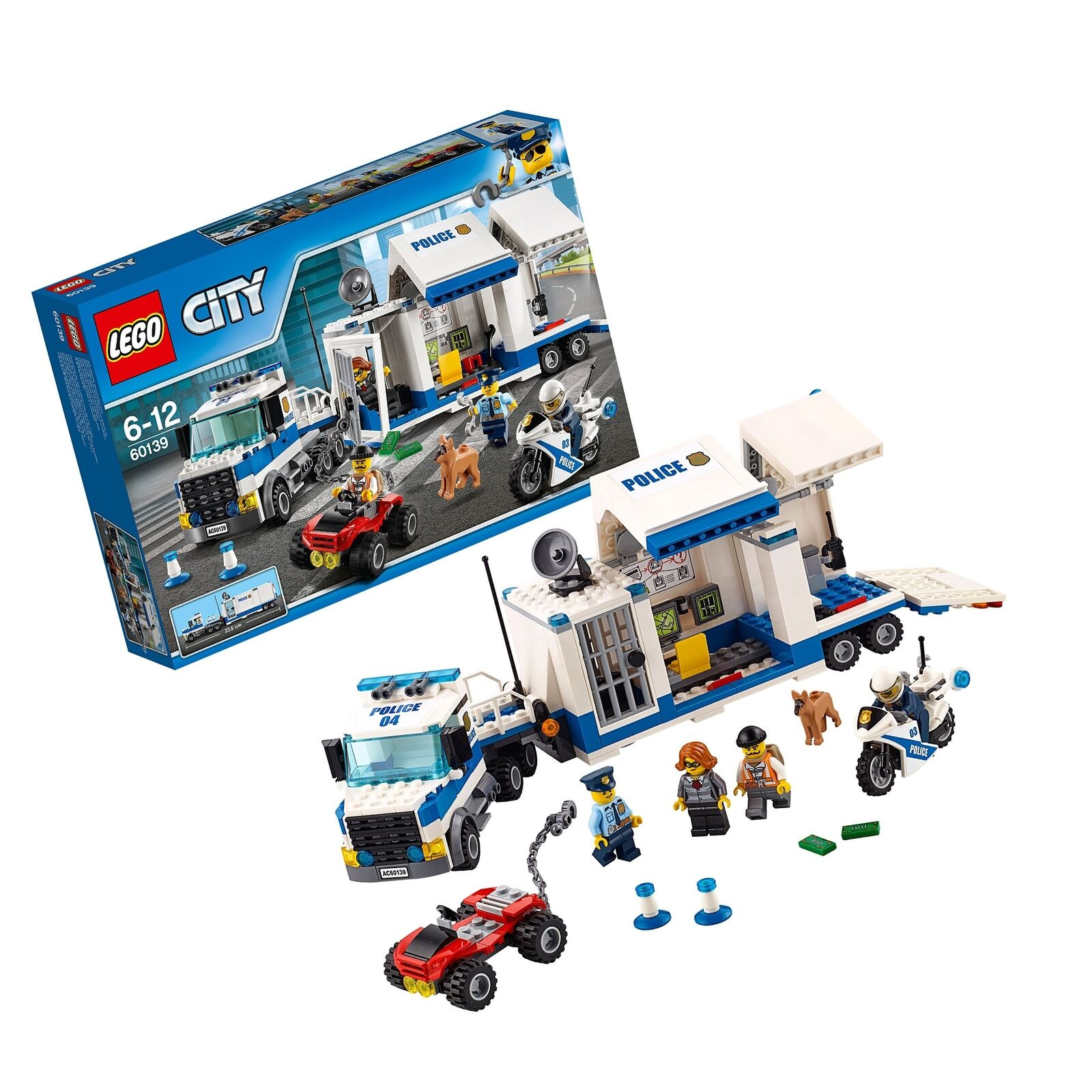 LEGO 60139 CITY Police mobile di Command Center Building Set, Giocattolo Camion e Moto.