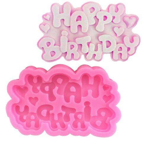 Cake Mould Chocolate Decorating Fondant Pink Silicone Happy Birthday Baking Mold