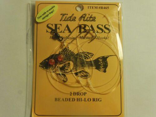 24 SEA BASS BLACK TIDE RITE R465 2 DROP BEADED HI-LO SALTWATER FISH RIG MUSTAD