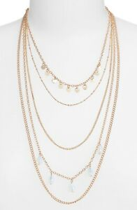 Nordstrom-BP-Dainty-Gold-Tone-Teardrop-amp-Disk-Layered-Necklace-5-Strands-New-22