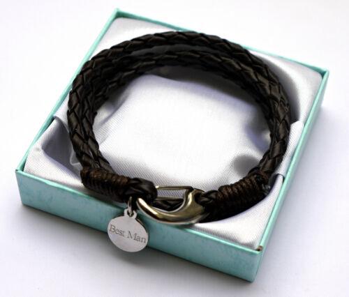 Personnalisé Hommes Cuir Bracelet Enveloppe Saint Valentin Breloque Gravé