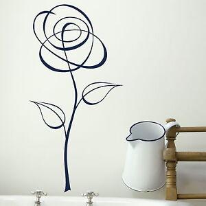 Pinstripe-Flower-Wall-Sticker-Vinyl-Art-Decal-Transfer-Graphic-Stencil-X77