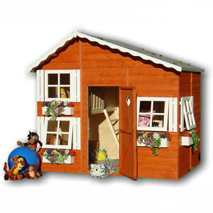 Shire loft wooden playhouse 2 storey wendy play house for Wooden playhouse with garage